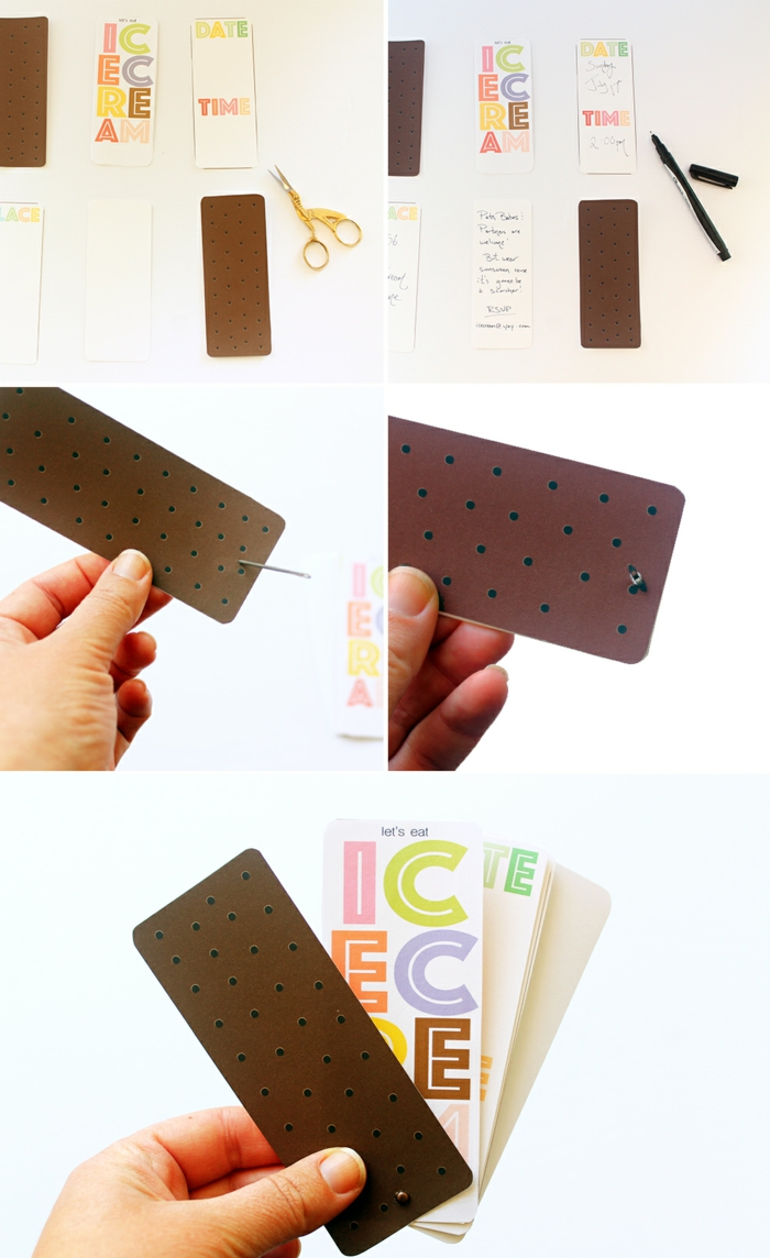 Einladungskarten erstellen zu einer Sommerparty mit Eis, die ausführliche Anleitung