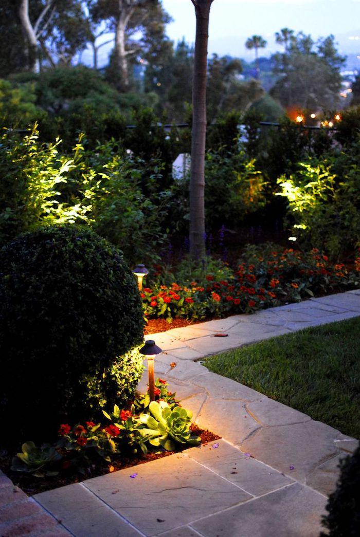 ein vorgarten baum und grüne pflanzen und kleine orange blumen im vorgarten, einen gartenweg anlegen