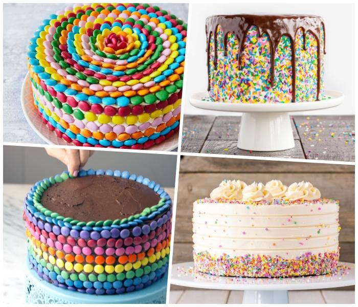 einfache deko für torten selber machen, schokoladenkuchen mit bunten bonbons dekorieren, zuckerperlen