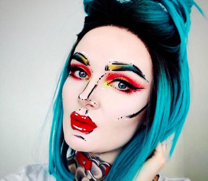 halloween schminktipps ideen zum nachmachen, eine cartoon heldin, schwarze konturen, blaue haare, rote lippen, choker mit herz, lidschatten, krasse farben