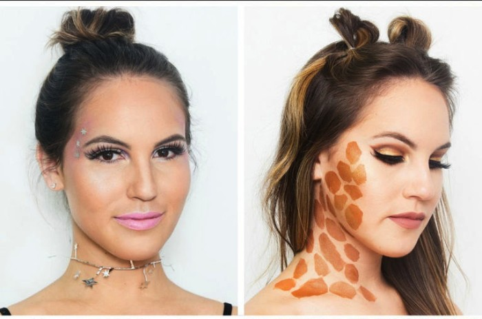 dezente und einfache halloween schminktipps, frauen schminke ideen, choker, giraffee schminken
