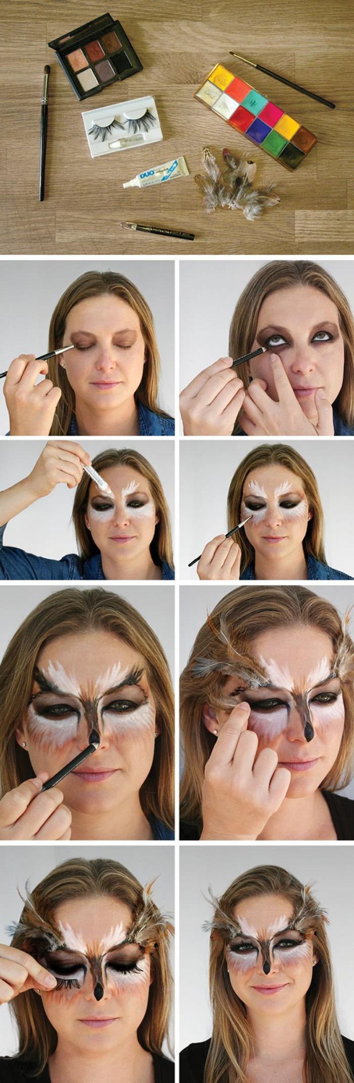 vorbereitung auf das schminken, lidschatten, künstliche wimpern, kleber, bilderanleitung, halloween schminktipps, tier