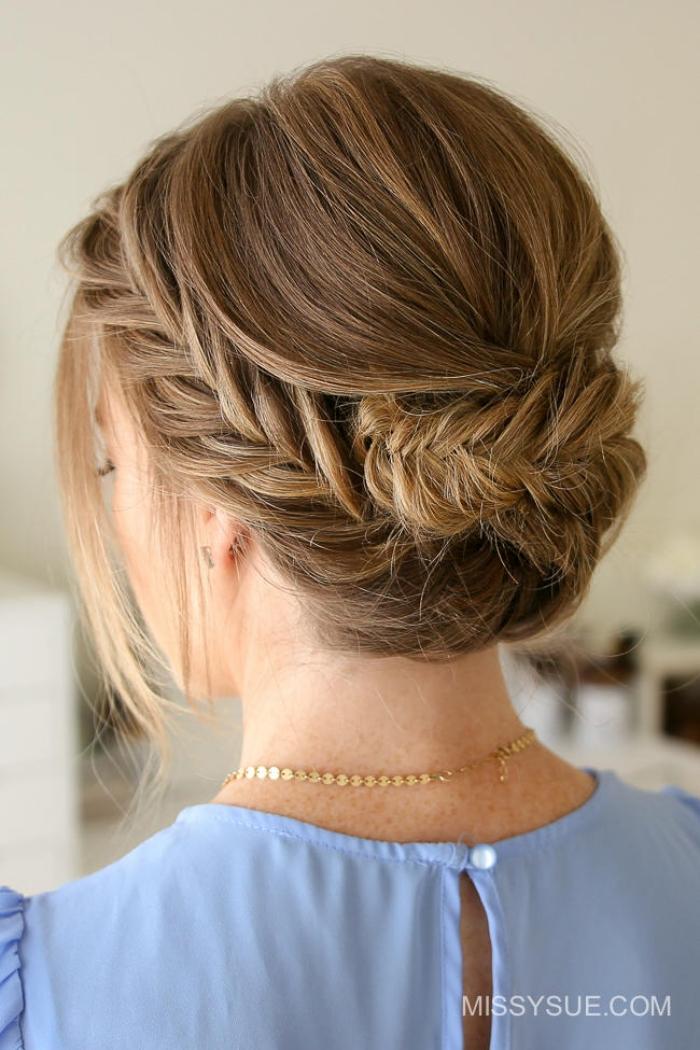 einfache hochsteckfrisuren, festliche frisur mit zöpfe, geflochtene haare, haarstyling