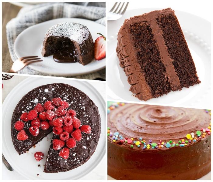 lava kuchen selber machen, einfacher kuchenteig, torte mit schokolade garniert mit himbeeren