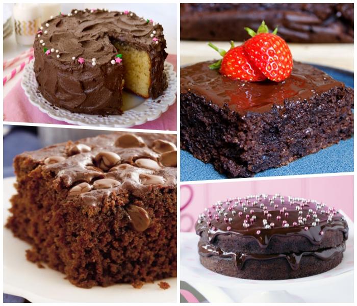 einfacher kuchenteig, rezepte für schokoladenkuchen, halbe erdbeeren, bunte zuckerperlen