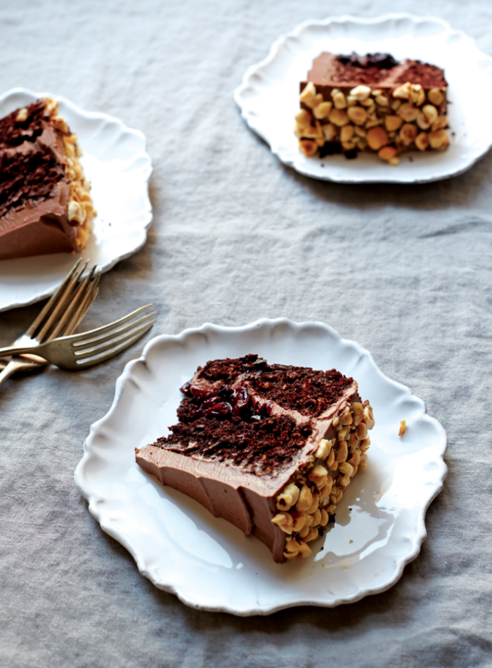 einfacher schokokuchen rezept, torte mit kakao und erdnüssen, geburtstagskuchen