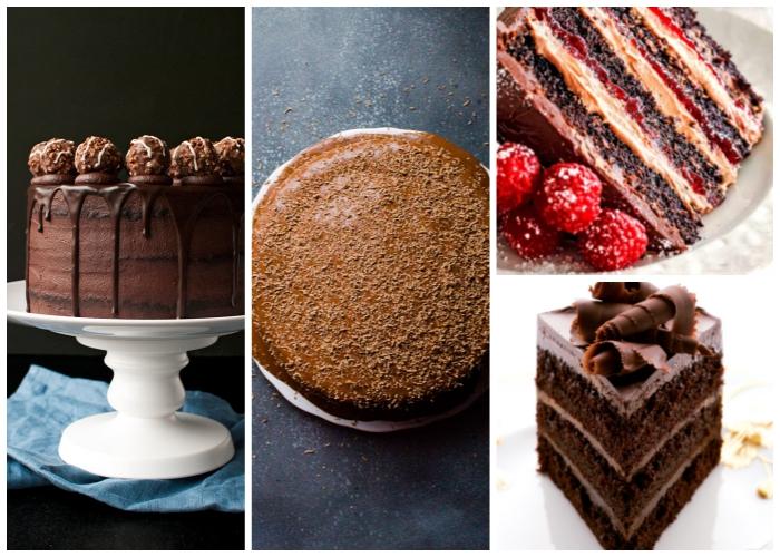 einfacher schokuchen, rezepte für kuchen mit schokolade, schokoladentorte dekoriert mit pralinen