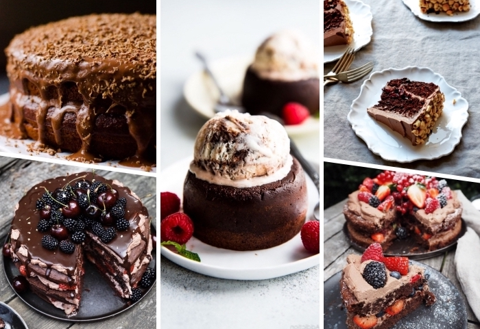 einfacher schokuchen zubereitung, rezeote für schokoladenkuchen, torte mit kirschen und brombeeren, lava kuchen