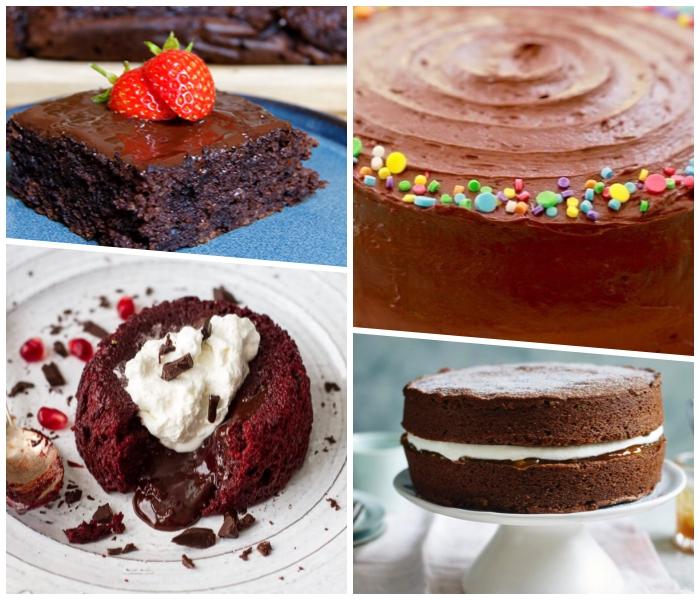 einfacher schokoladenkuchen, schokokuchen mit erdbeeren, lava torte mit eiscreme, bunte zuckerperlen