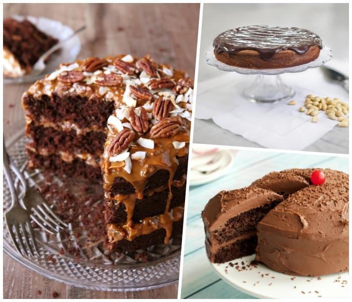 einfacher schokoladenkuchen mit pekannüssen und kokoslackes, karamellsoße