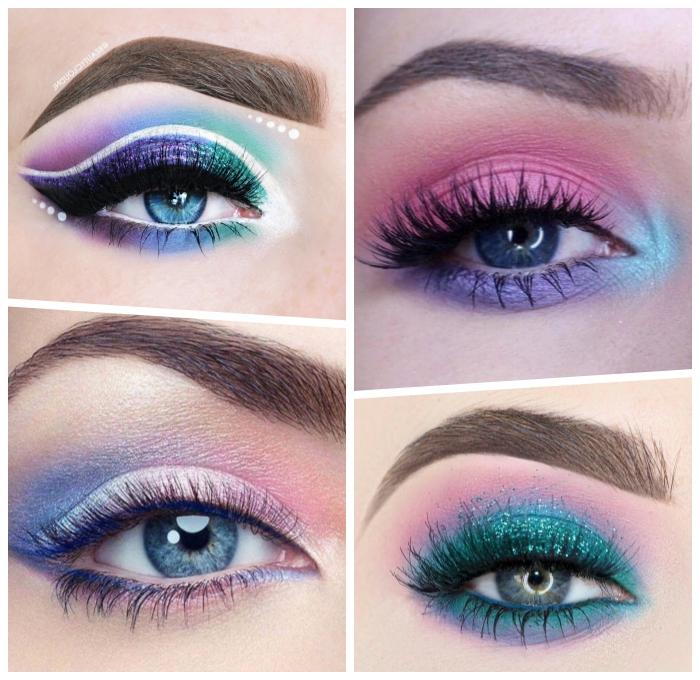 einhorn make up selber machen, augen schminke ideen, unicorn farben, halloween