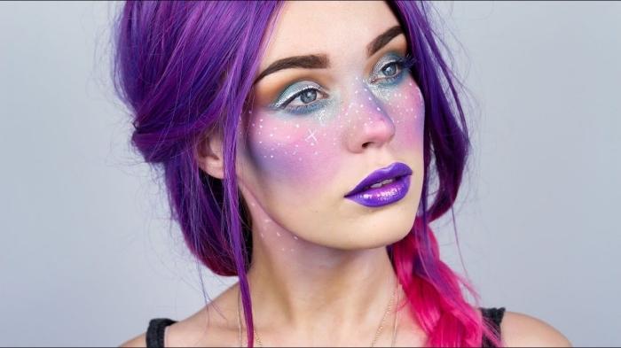 einhorn make up ideen und tutorial, make up in pastellfarben, lila haare, steine