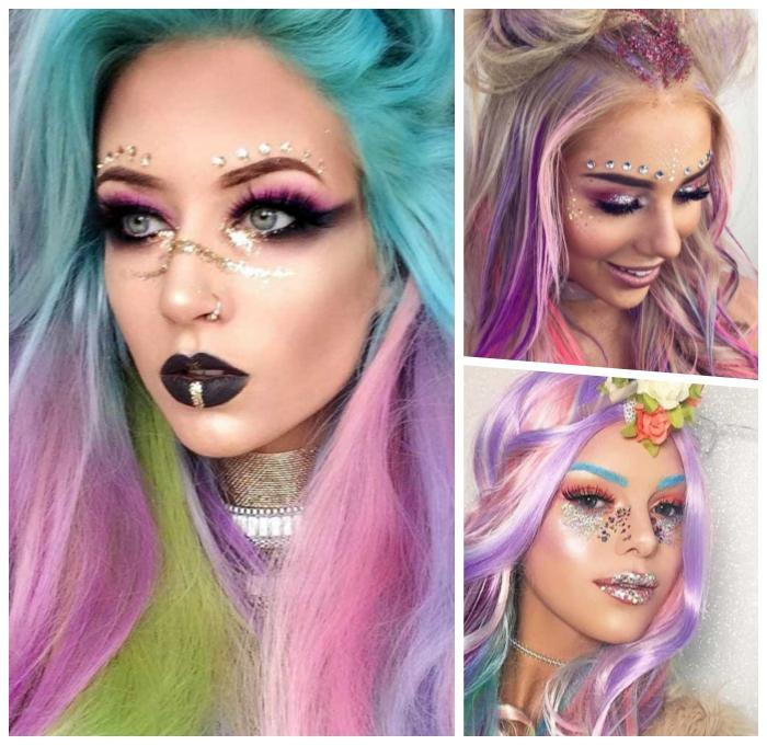 einhorn make up selber machen, die besten ideen, schwarzer lippenstift, unicorn