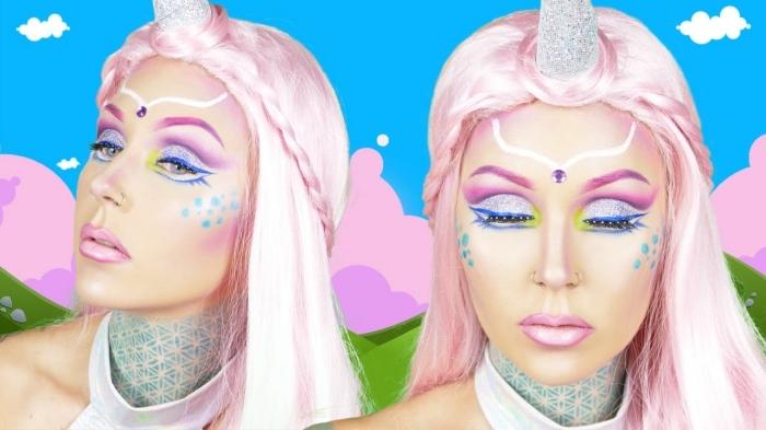 einhorn make up selber machen, rosa haare, schminke in pastellfarben, schminktipps
