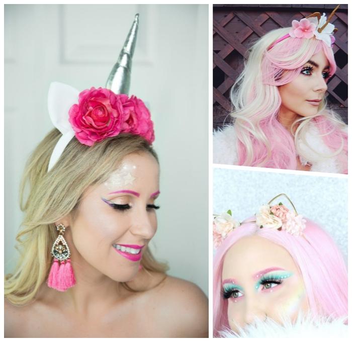 einhorn schminken tutorials, rosa haare, unicorn make up ideen, halloween kostüme