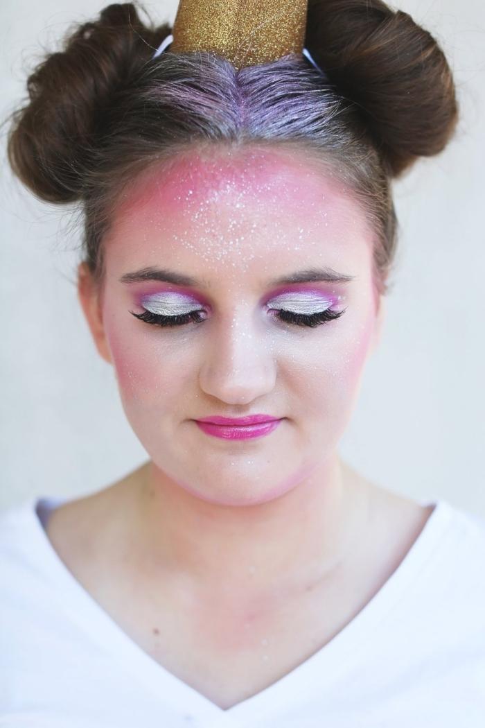 einhorn schminken, einfaches make up zum halloween, schminke in rosa und weiß, unicorn
