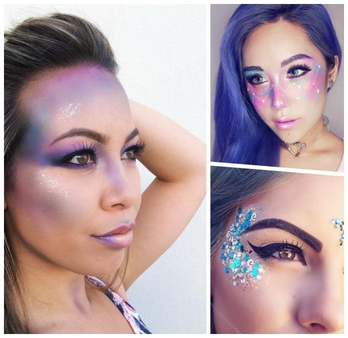 einhorn schminken, die bestne anleitungen, einfaches tutorial, make up in lila, rosa und blau