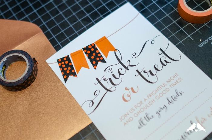 eine Anleitung, wie Sie Einladungskarten erstellen, Einladung zur Halloween Party mit Trick or Treat