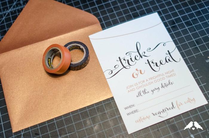 alles, was Sie brauchen um Einladungskarten erstellen zu Halloween Party, Washi Tape, Vorlage und Briefumschlag