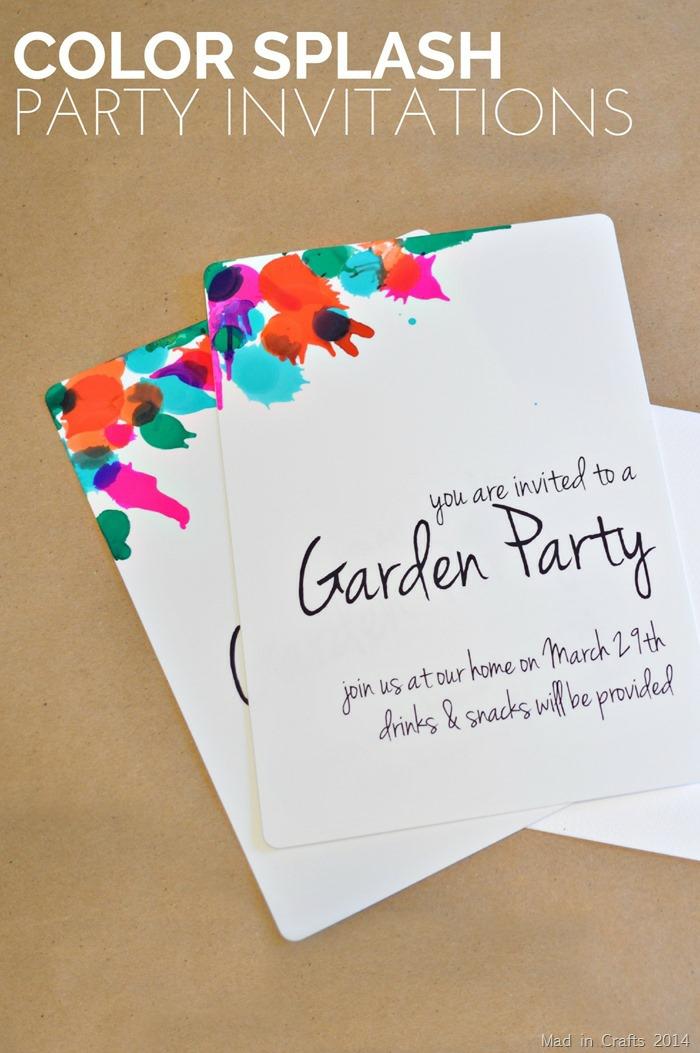 ein paar Party Einladungskarte erstellen, mit vielen Farben, Blau, Rot und Grün und Schwarz