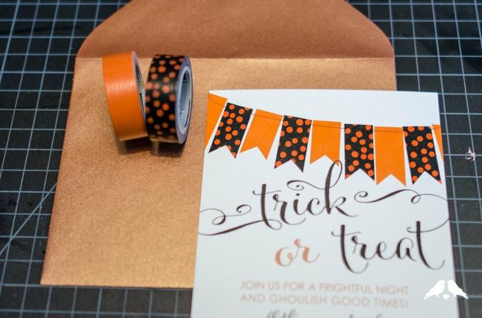 eine Einladung zu gruseliger Halloween Party, mit Washi Tape Einladungskarte erstellen mit Girlande