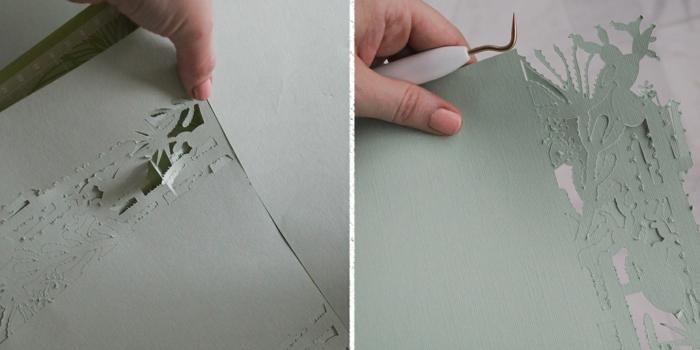 Einladungen basteln, die perforierte Teile bohren, um die Figuren von Kakteen zu bekommen