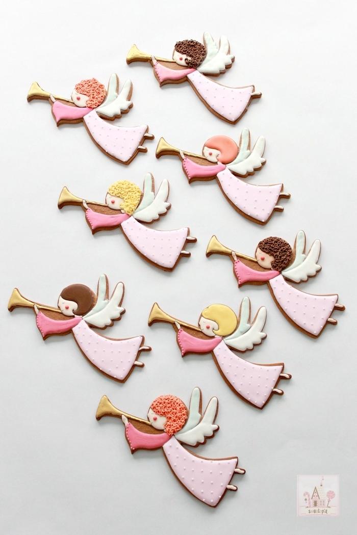 Engel Weihnachtsplätzchen zum Ausstechen, Lebkuchen selber backen und mit Zuckerguss dekorieren