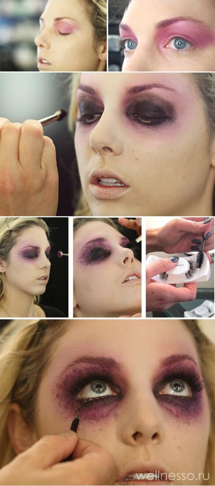 halloween schminke ideen für zombie miene, lidschatten in lila und schwarz, grüne augen, schritt für schritt anleitung