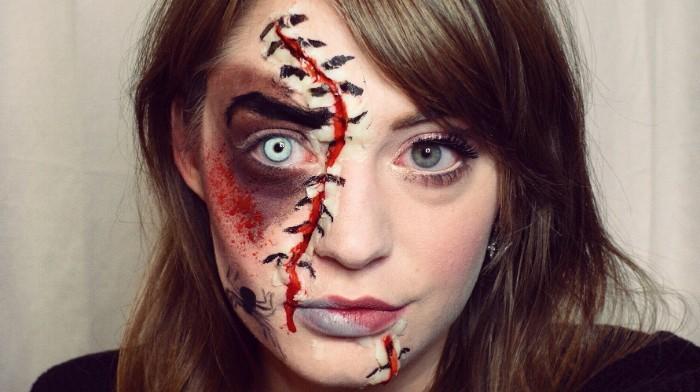 schreckliche halloween schminke für damen, blaue linsen, neonfarbe, halbgeschminktes gesicht idee