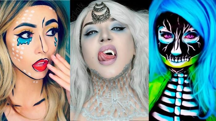 drei ideen für kreative halloween schminke, blaue haare, neonfarbe schminken, animation