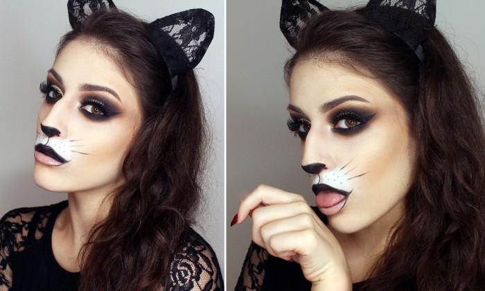 einfache schminktipps, katze selber schminken, katzenohren, schwarze nase und miene, katzenaugen schminken