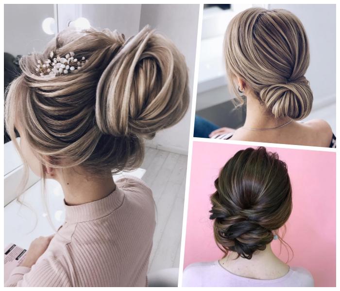 frisuren für hochzeit, braut haarsyling, tiefer dutt, haare hochstecken, blonde strähnen