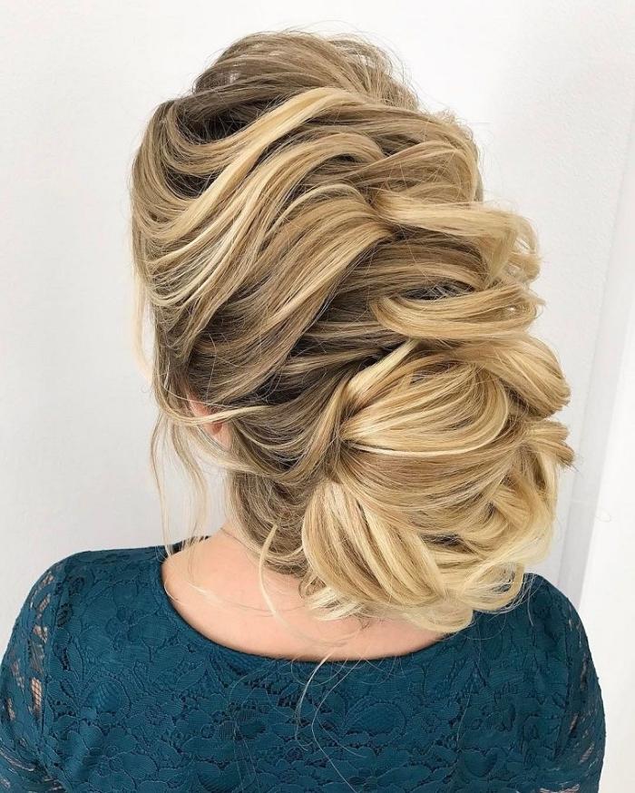 frisuren für lange haare, lockere flechtfrisur, braut haarstyling, kleid mit spitze