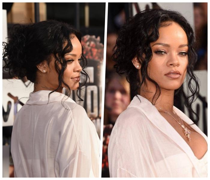 frisuren für lange haare, rihanna, lässige hochsteckfrisur mit locken, weißes weites hemd