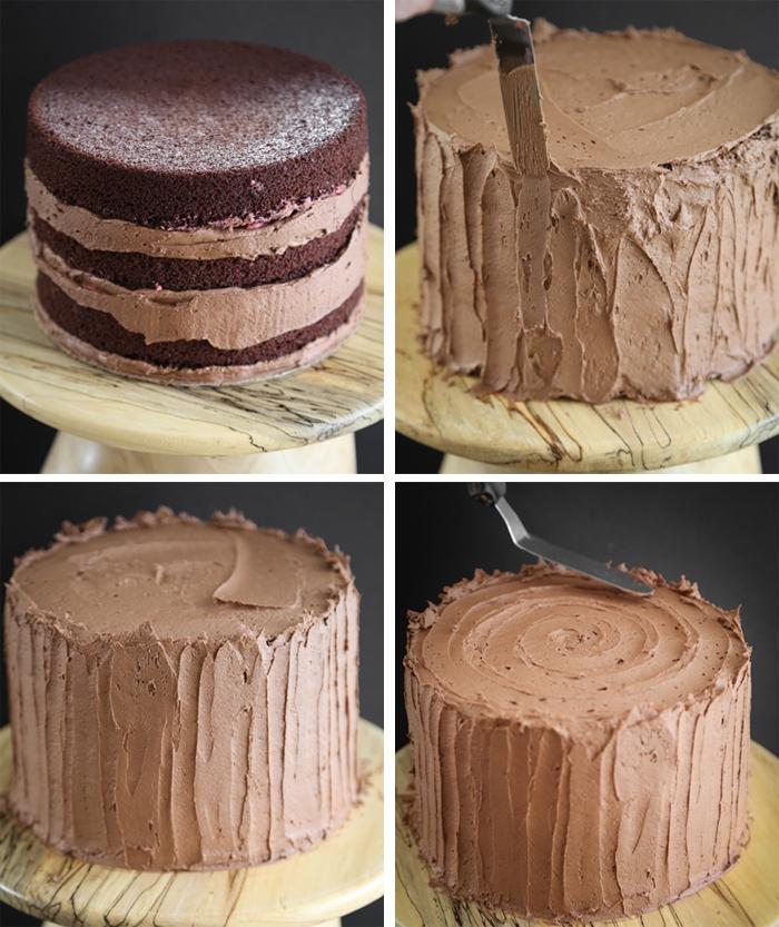 glasur selber machen, tortenboden und buttercreme mit schokolade, tortendeko anleitung