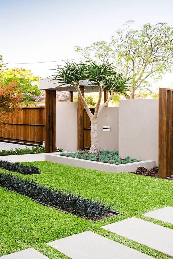baum für vorgarten, ein 8gartenweg mit weißen fliesen, blauer himmel und ein zaun sichtschutz aus holz, vorgarten modern anlegen