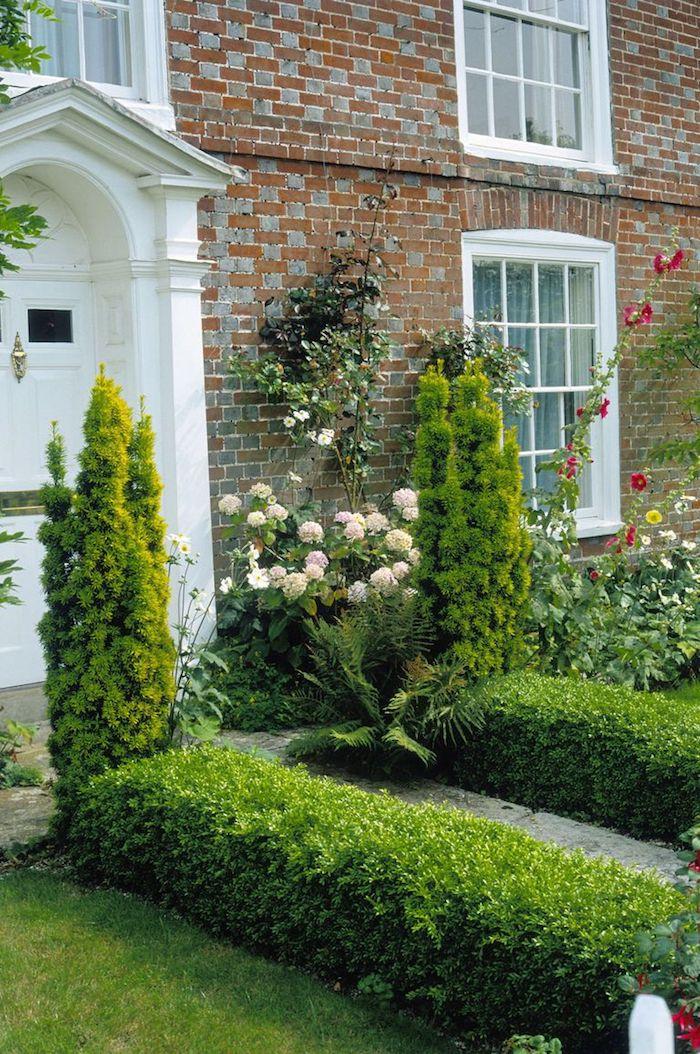 weiße tür und ein haus mit kleinem grünen vorgarten mit grünen pflanzen und roten und pinken rosen, vorgarten ideen