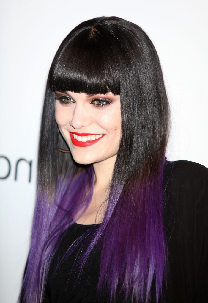 haarfarbe violett ist eine idee die jessie j gern verwendet, ombre violett, pflaumen haare
