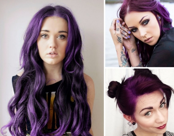 haarfarbe violett, pflaumenfarbene haare, langes haar in wellen gestalten, zwei kleine zöpfe