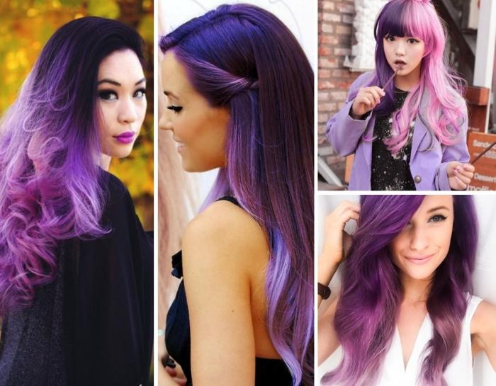 pinke haare, blaue haare und haarfarbe violett, die trends von heute sind bunt und ausgefallen