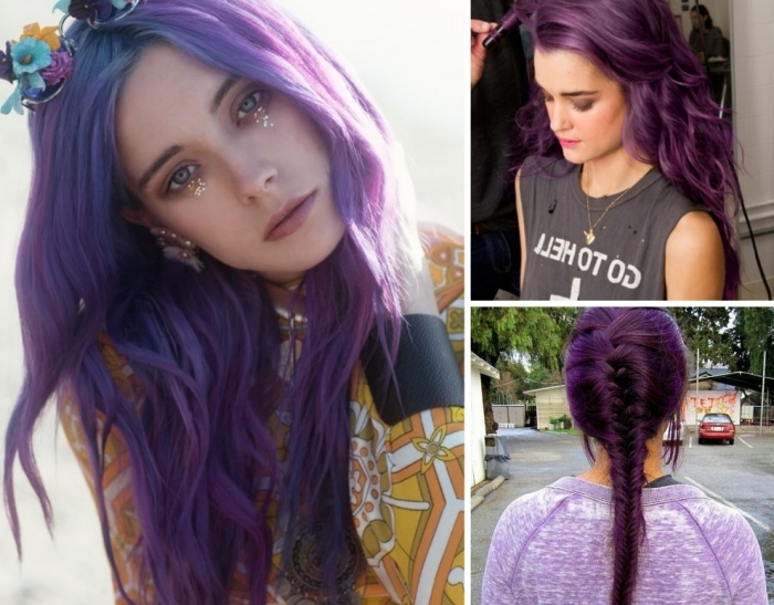 pinke haare und mögliche frisuren, zopf, fischgrätten oder blumenkranz in den haaren, halloween idee