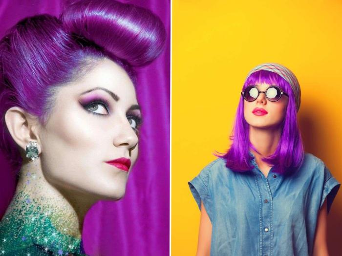 haare bunt färben ideen zu farbgestaltungsvarianten und frisuren, foto am gelben hintergrund kontrast akzent professionelle fotos
