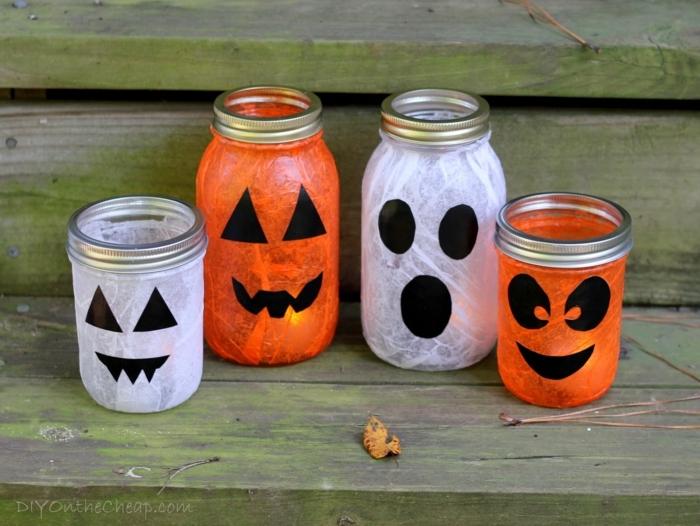 Kinderlaterne basteln zu Halloween mit gruseligen Gesichter wie Kürbisse, Vampire und Gespenster