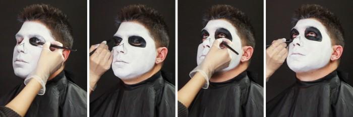 halloween make up männer, weißes gesicht anmalen, schwarze farbe rund um die augen, pinsell