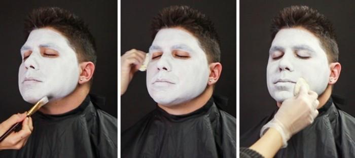 halloween make up männer, weißes gesicht schminktutorium, männerschminke, schauspieler oder fasching