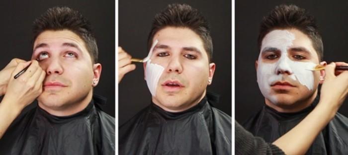 drei bilder mit fotoanleitung wie man sich selbst oder einen mann zu halloweenfest schminken kann
