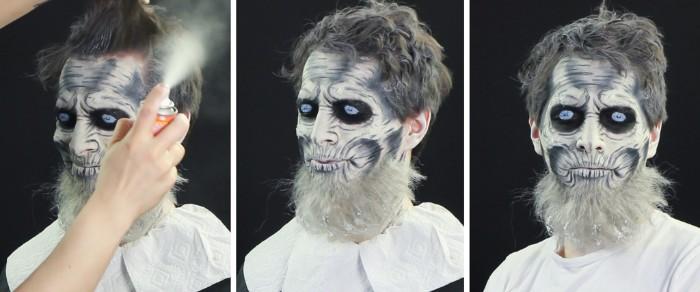 gruseliges gesicht selbst gestalten, halloween make up für männer, alter mann
