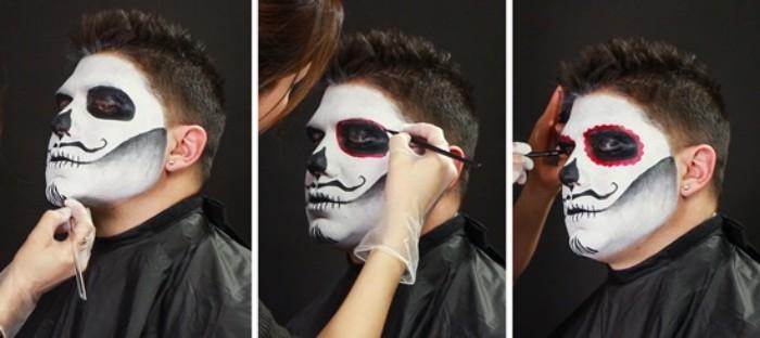 halloween kostüm männer, das weiße gesicht vom tutorial wird zu mexikanischem totenkopf
