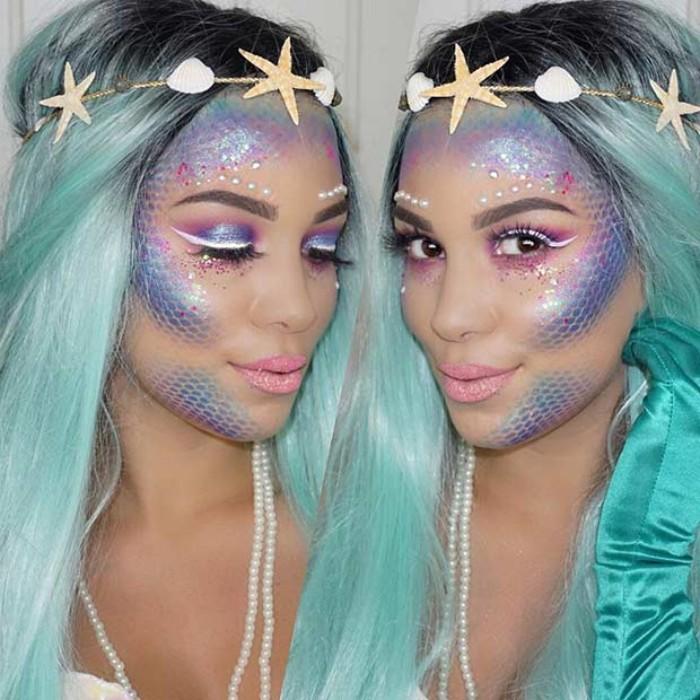 kreative schminktipps und ideen, meeresjungfrau schminken, blaue haare, perücke, diadem, netzsocken als accessoire nutzen
