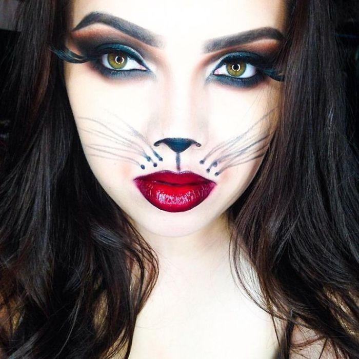 schminktipps und ideen zu halloween schönem look, volle rote lippen, künstliche wimpern, feminin und schön